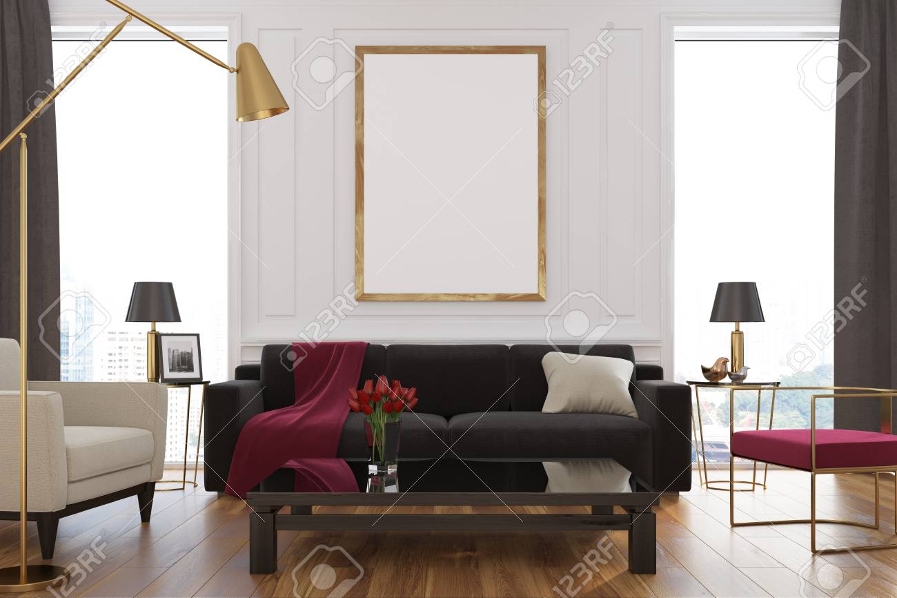 White Living Room Interior With Loft Windows Brown Curtains