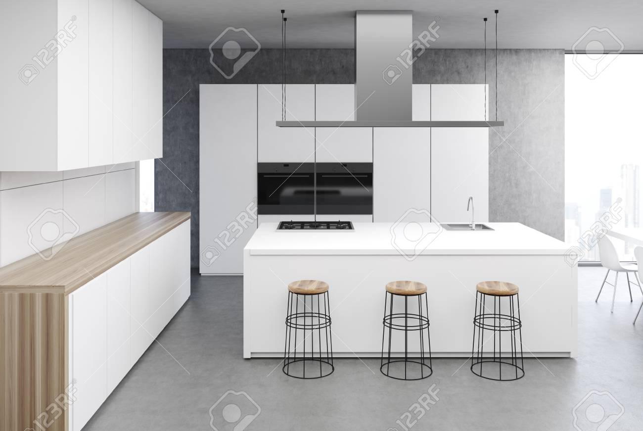 Modern Kitchen Interior With A Concrete Floor, White Walls, White ...
