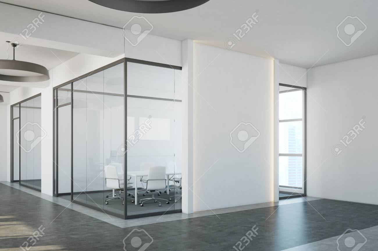 White Conference Room Interior Corner With A Concrete Floor Stock - Corner conference table