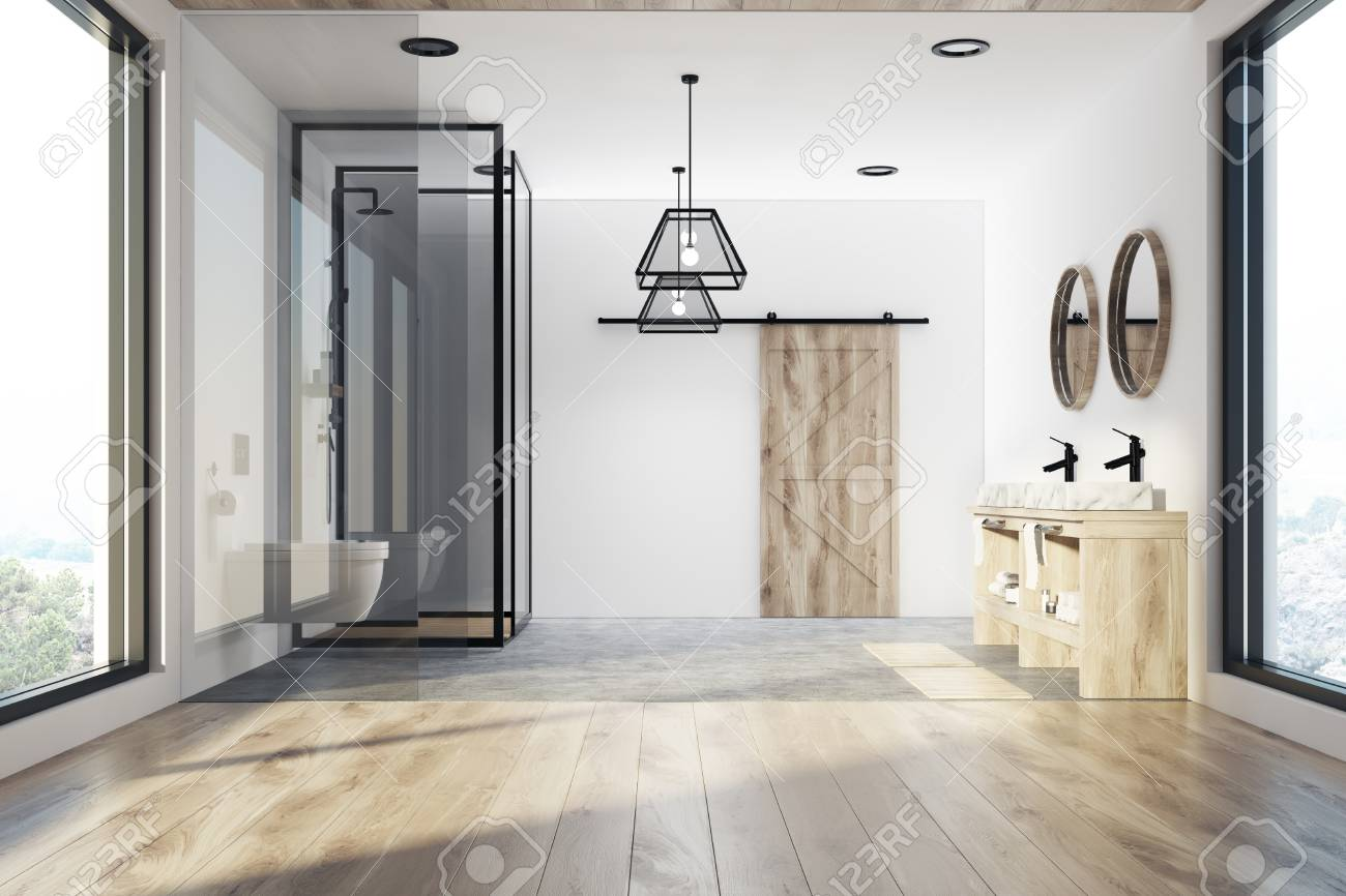Modern Bathroom Interior With A Concrete And Wooden Floor, A Shower Stall,  A Double
