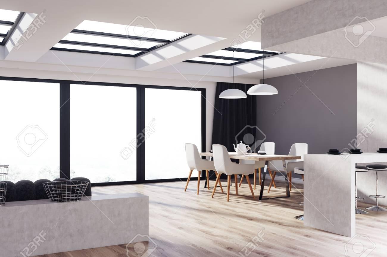 Kuche Und Wohnzimmer Interieur Mit Grauen Und Betonwanden Einem
