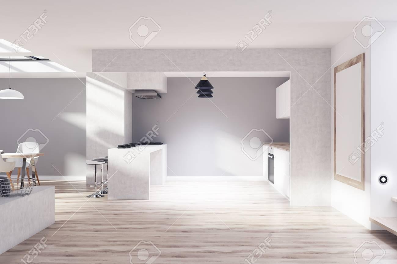 Intérieur De Cuisine Avec Des Murs Gris Et Béton Une Table à Manger