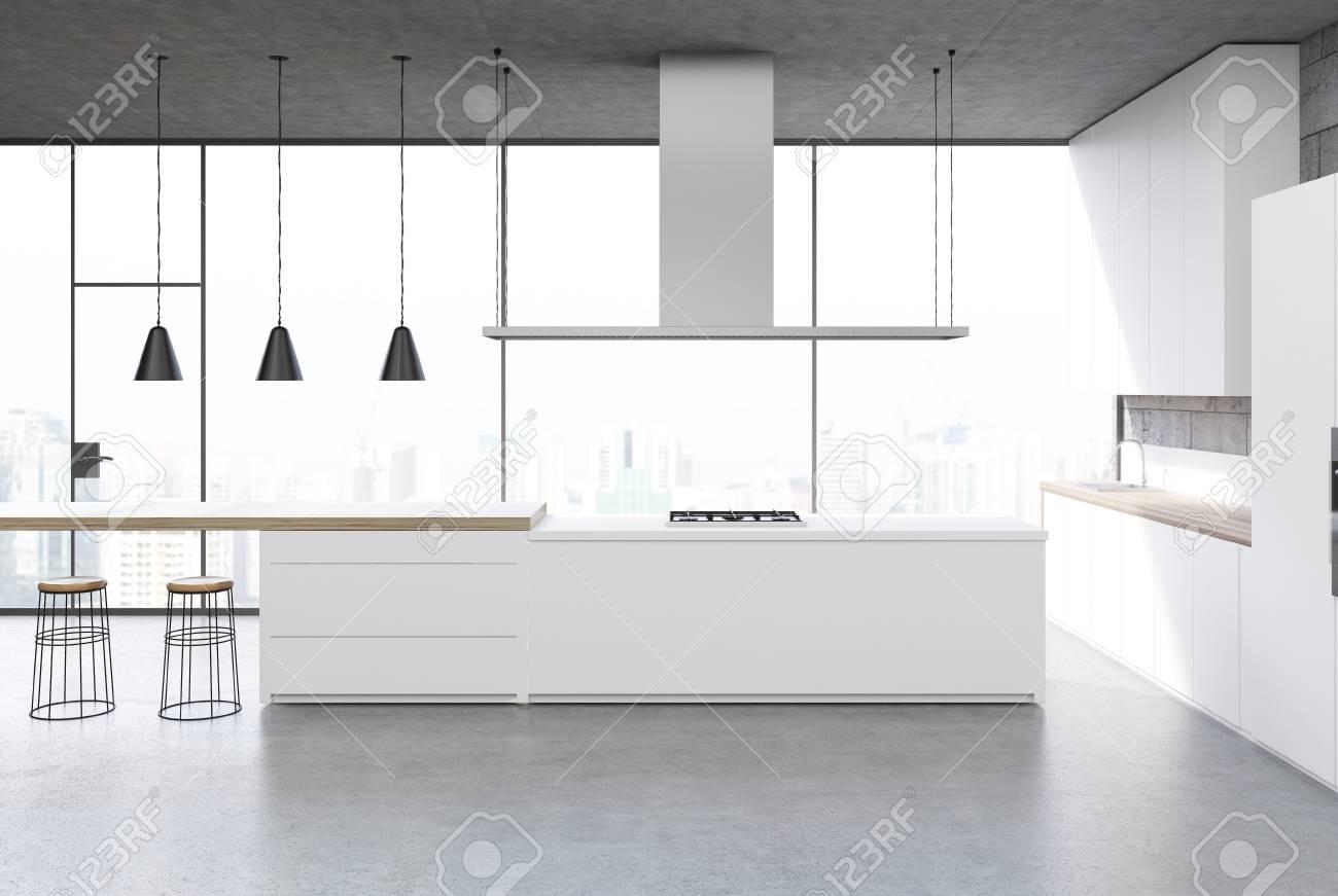 Sol En Beton Interieur intérieur de cuisine blanche avec un sol en béton, une fenêtre panoramique,  un balcon, des consoles noires et des armoires. maquette 3d