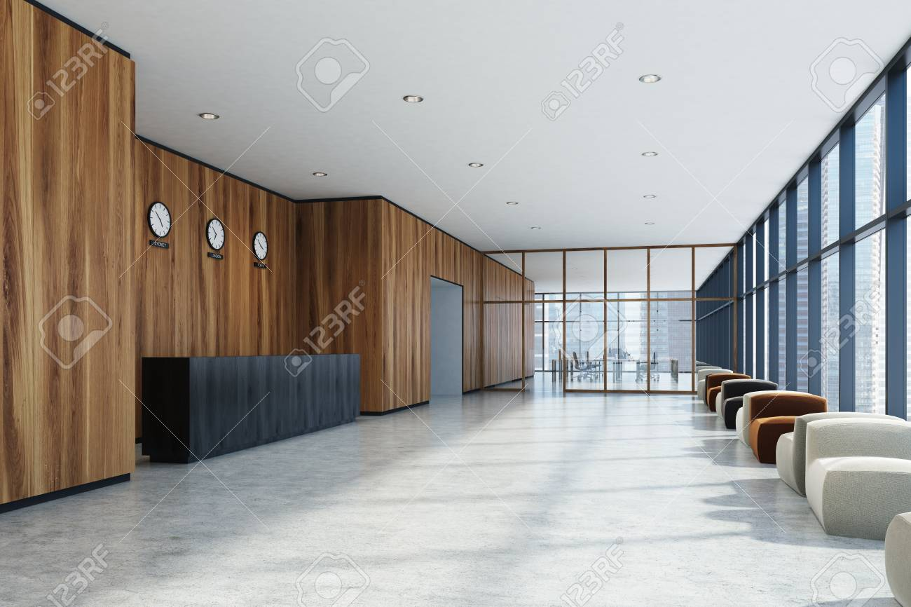 office lobby. Stock Photo - Wooden Office Lobby With A Concrete Floor, Panoramic Windows, Black Reception Desk And Row Of Armchairs. 3d Rendering Mock Up