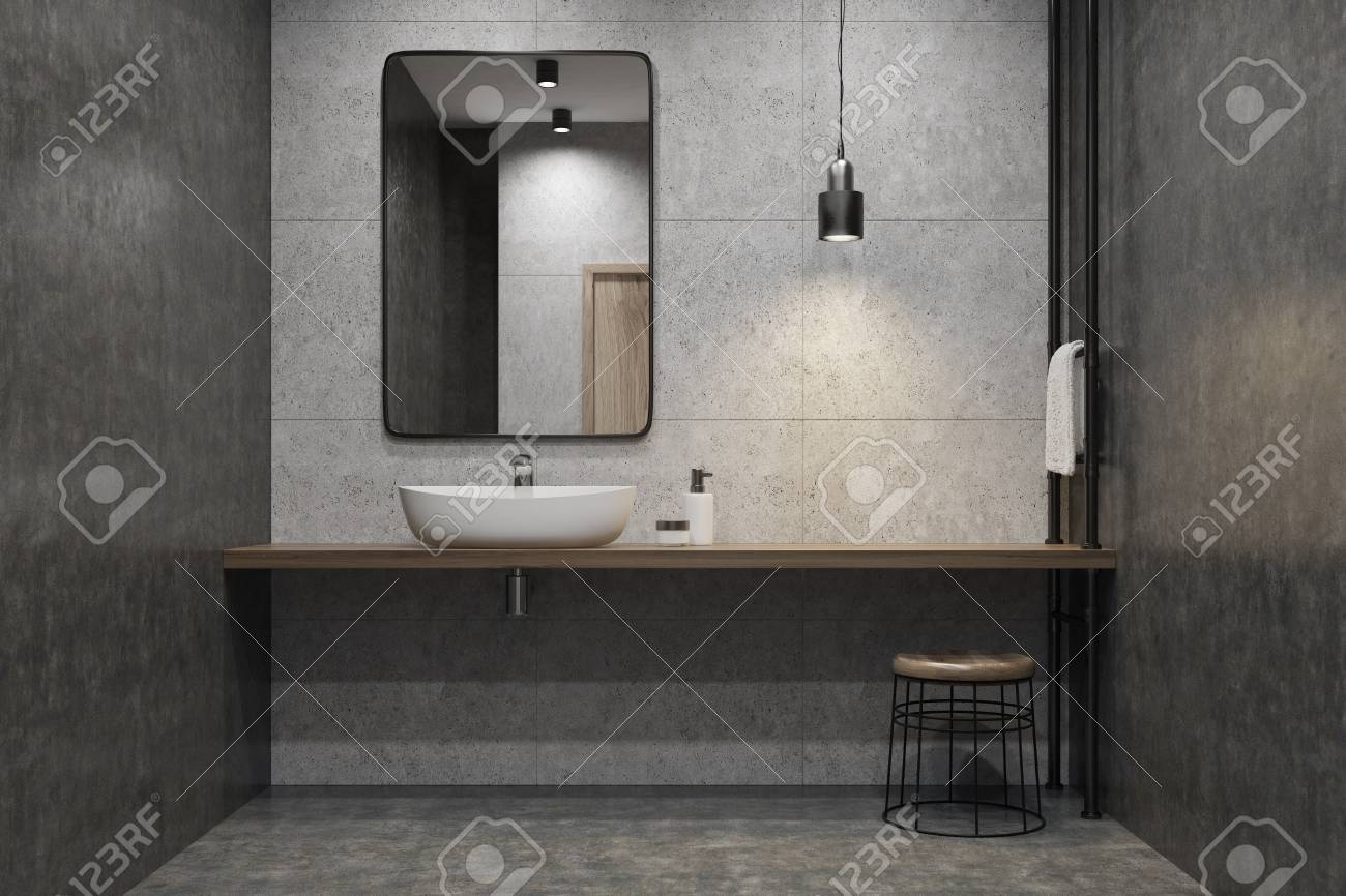 Concrete Bathroom Interior With A Wooden Shelf, A Sink Standing On It, A  Rectangular