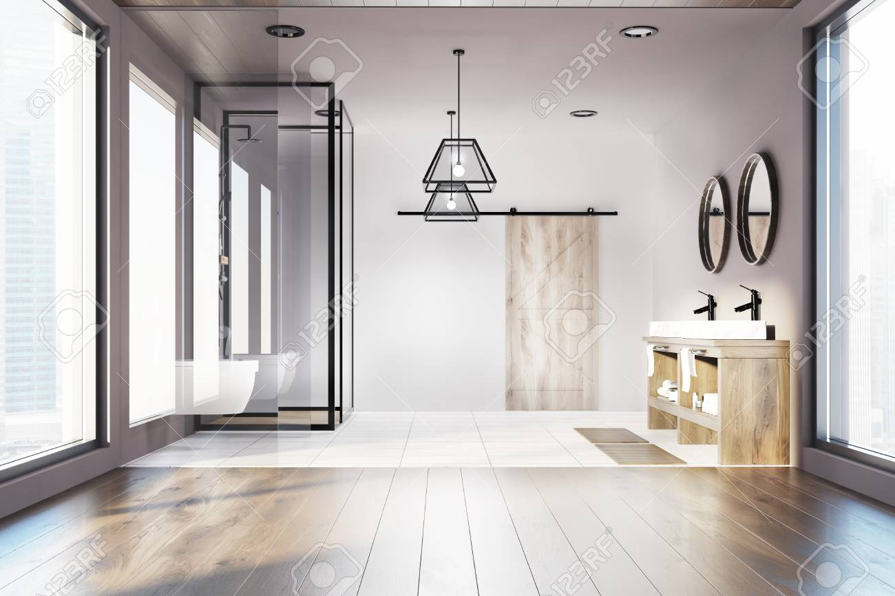 Modern Bathroom Interior With A White And Wooden Floor, A Shower ...