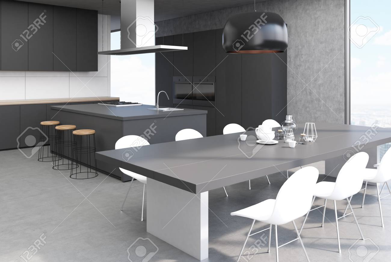 Modern Kitchen Interior With A Concrete Floor White Walls Black Stock Photo Picture And Royalty Free Image Image 88797723