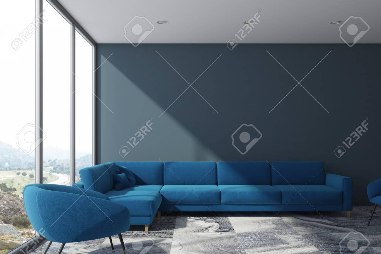 Interieur De Salon Gris Avec Un Canape Bleu Et Un Fauteuil Une Fenetre Panoramique Avec Un Paysage Urbain Maquette 3d
