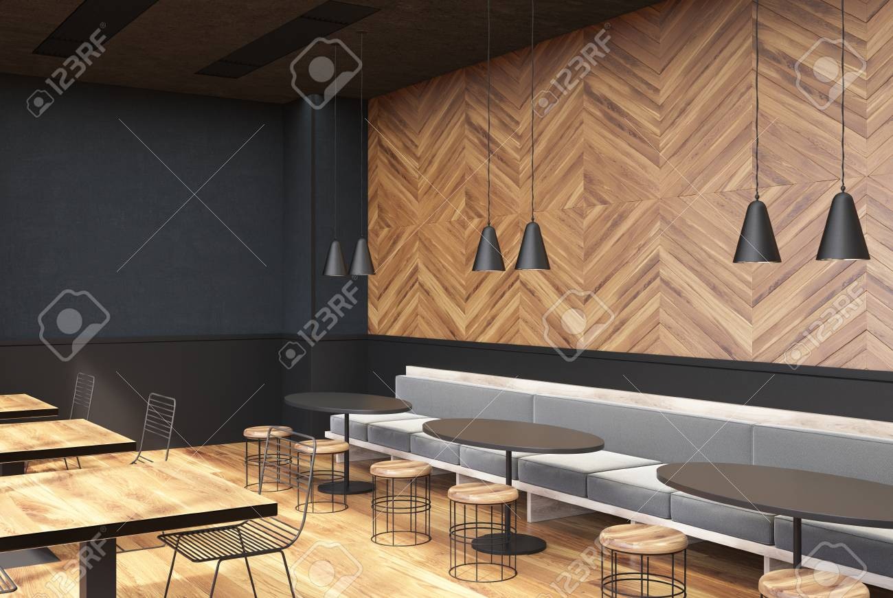 Modern Cafe Interior With Gray And Dark Wooden Walls A Wooden Stock Photo Picture And Royalty Free Image Image 89468738