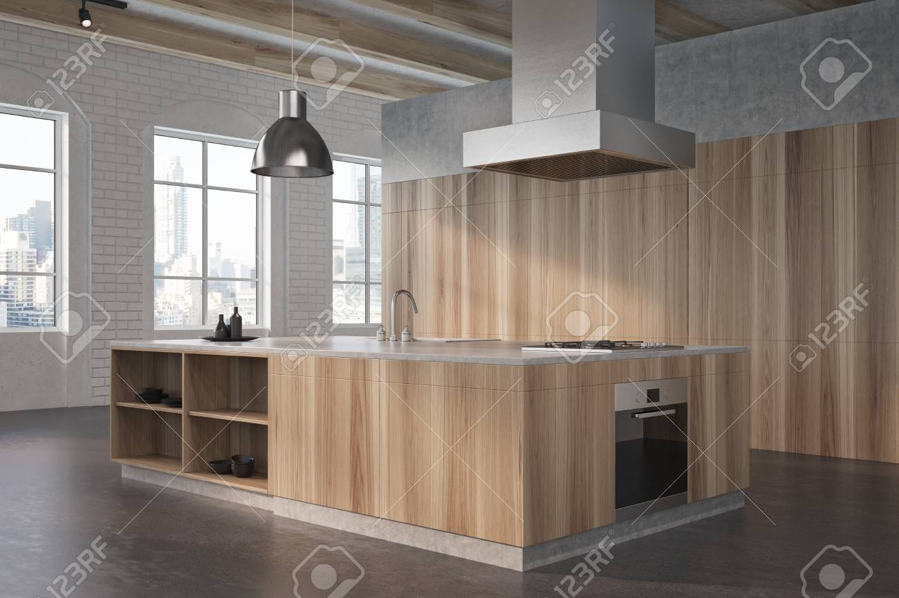 Modern kitchen interior corner with white brick walls a concrete floor large windows and