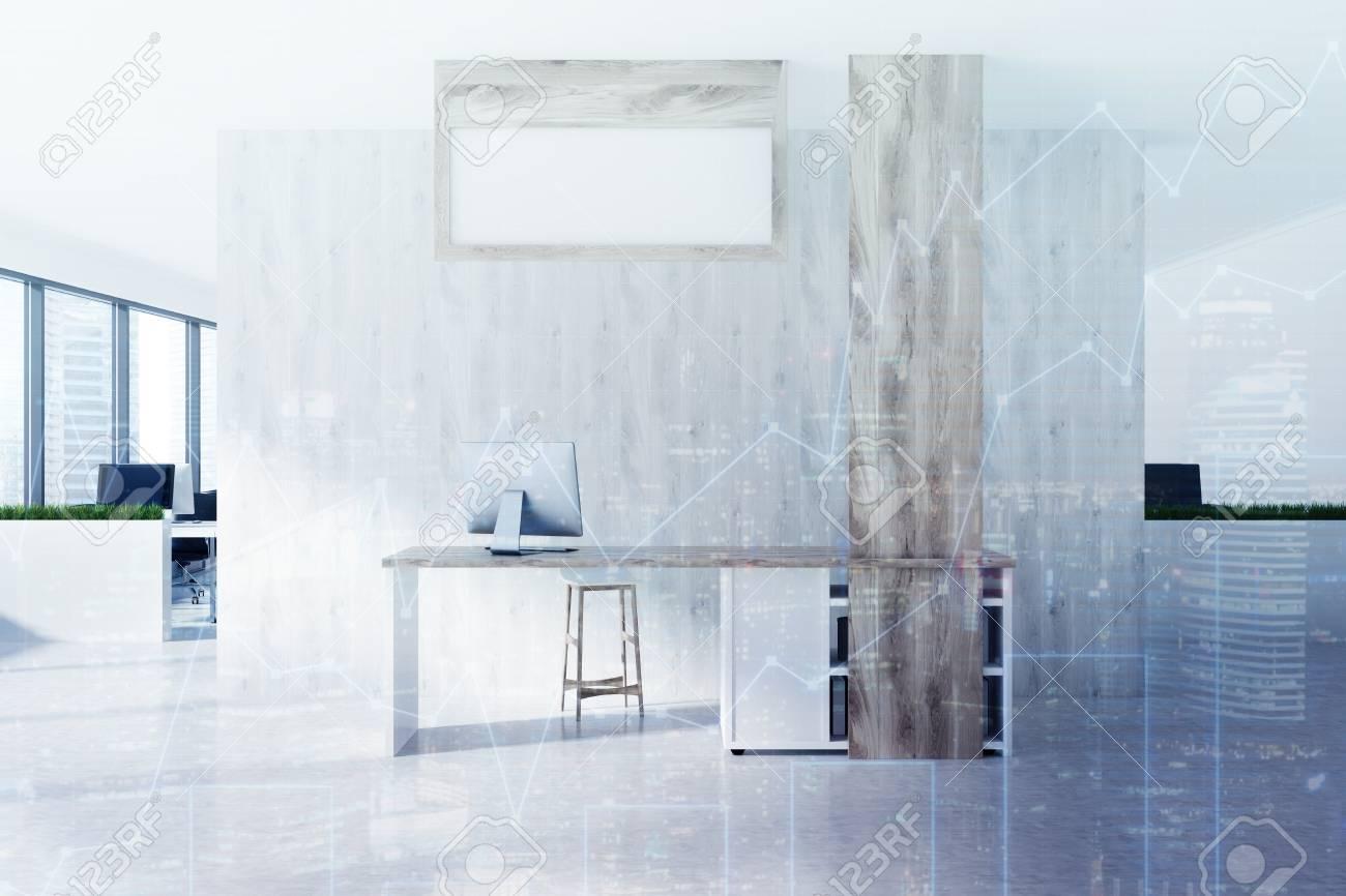 Réception en bois debout sur un sol en béton d un bureau moderne