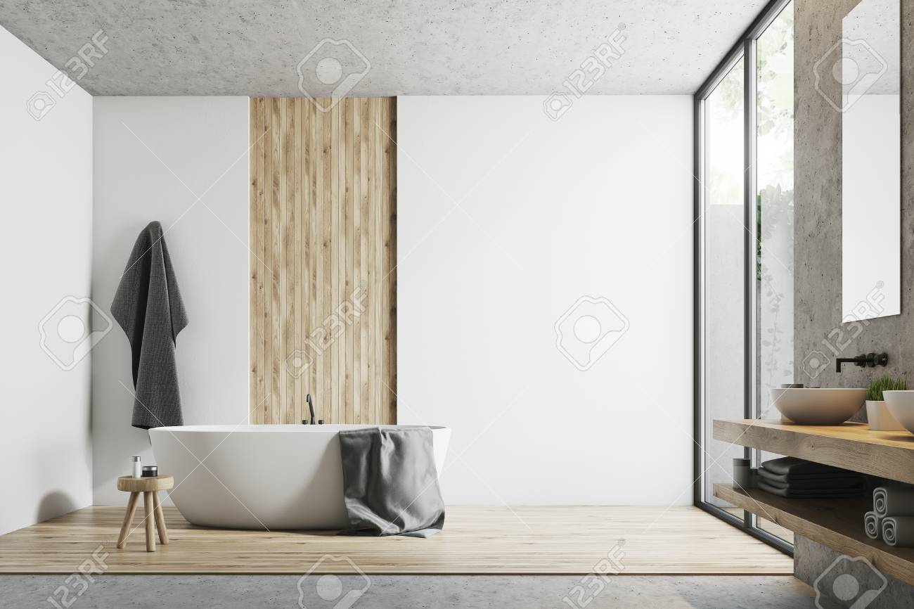 Modern bathroom interior with white, concrete and wooden walls, a large window, a bathtub, a sink and a mirror. 3d rendering mock up - 89469374