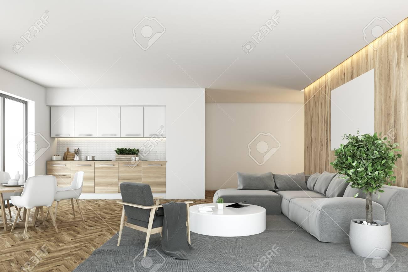 Interieur De Salon Blanc Et En Bois Avec Un Canape Gris Une Table