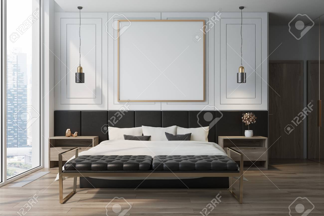 Camera Da Letto In Legno Bianco : Interno bianco della camera da letto con un pavimento in legno un