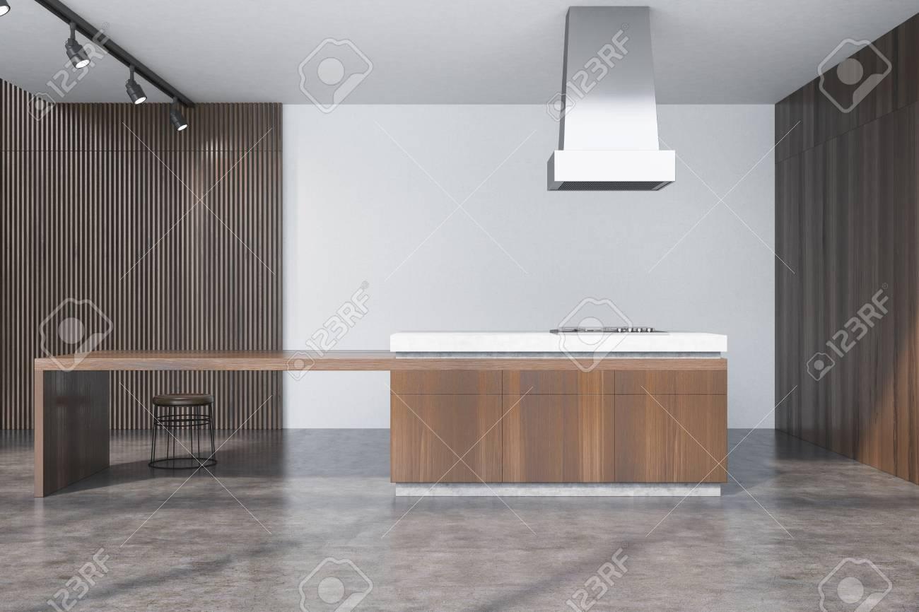Kucheninnenraum Mit Dunklen Holzernen Und Weissen Wanden Ein
