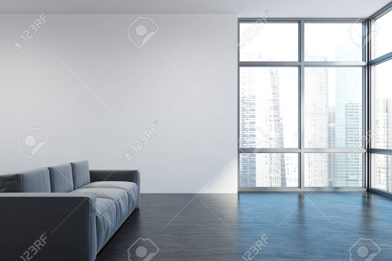 Empty Living Room Interior With White Walls, Loft Windows And ...