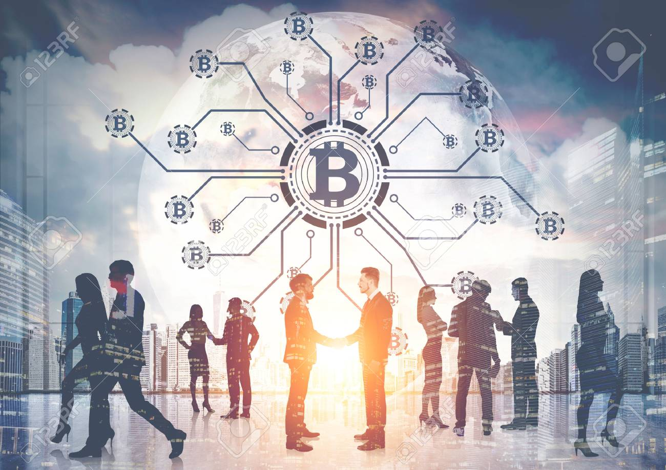 Business people silhouettes against bitcoin network hologram in the sky of a modern city. Double exposure toned image. - 89467859