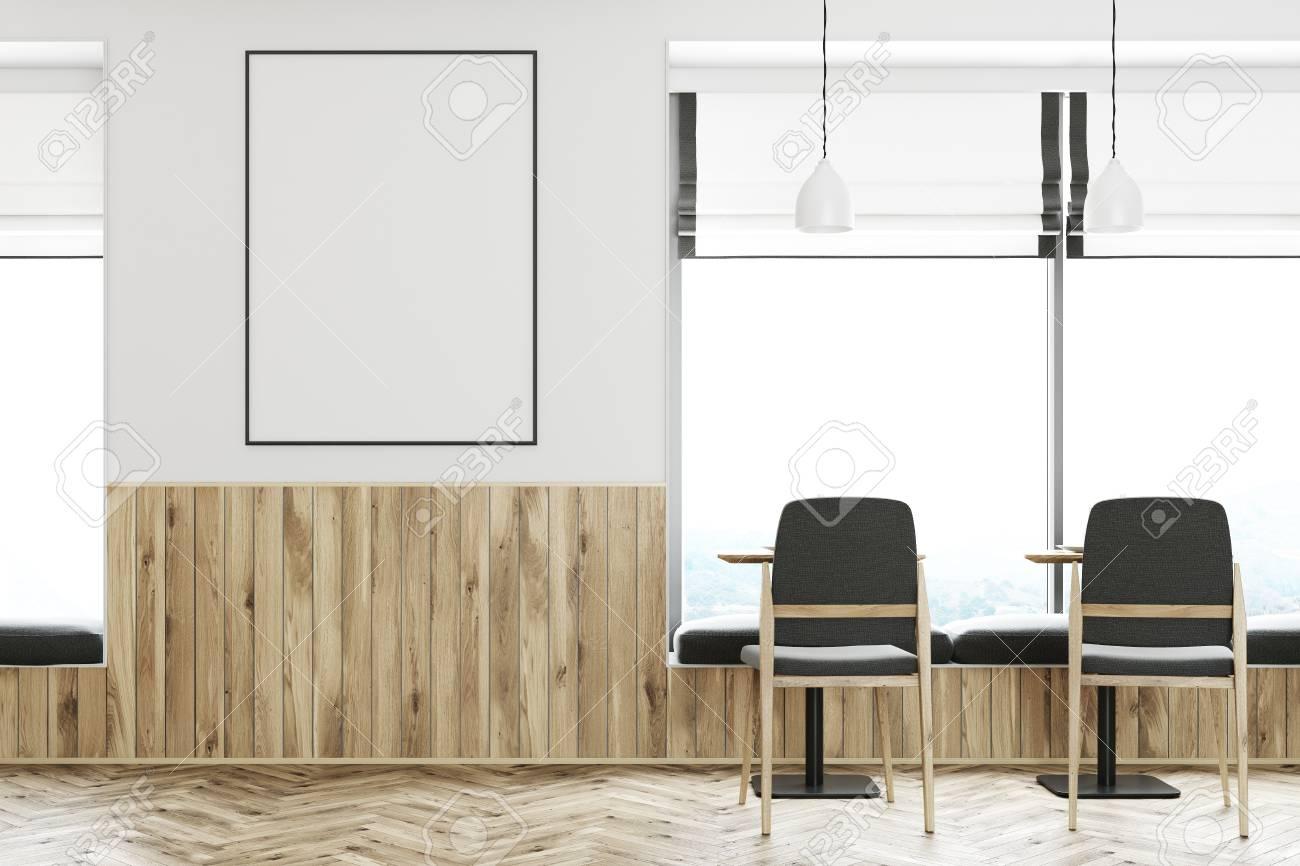 Tavolo Bianco E Sedie Grigie.Interno Bar Bianco Con Pavimento In Legno Tavoli Quadrati E Sedie Grigie C E Un Poster Verticale Incorniciato Sul Muro 3d Rendering Mock Up