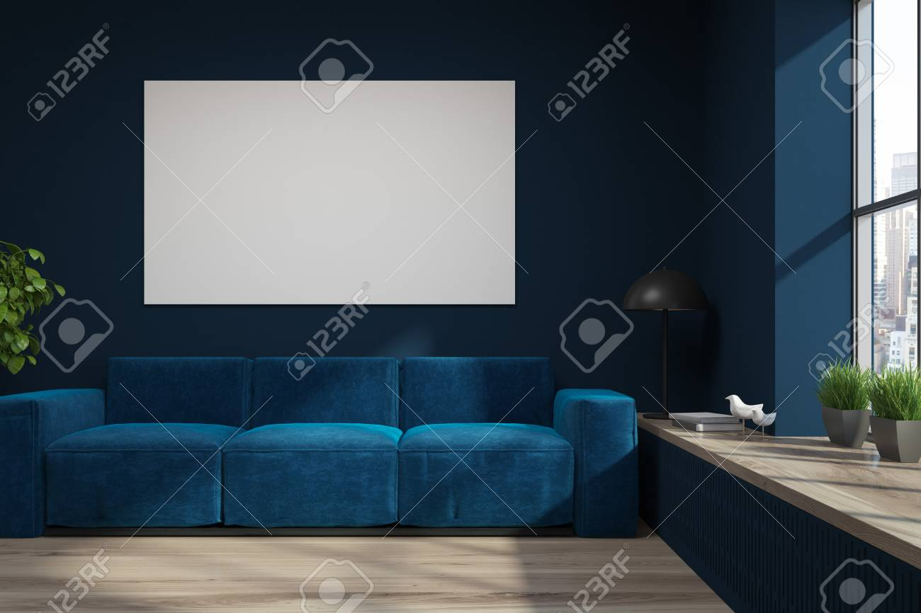 Astounding Living Room Interior With Dark Blue Walls A Wooden Floor A Evergreenethics Interior Chair Design Evergreenethicsorg