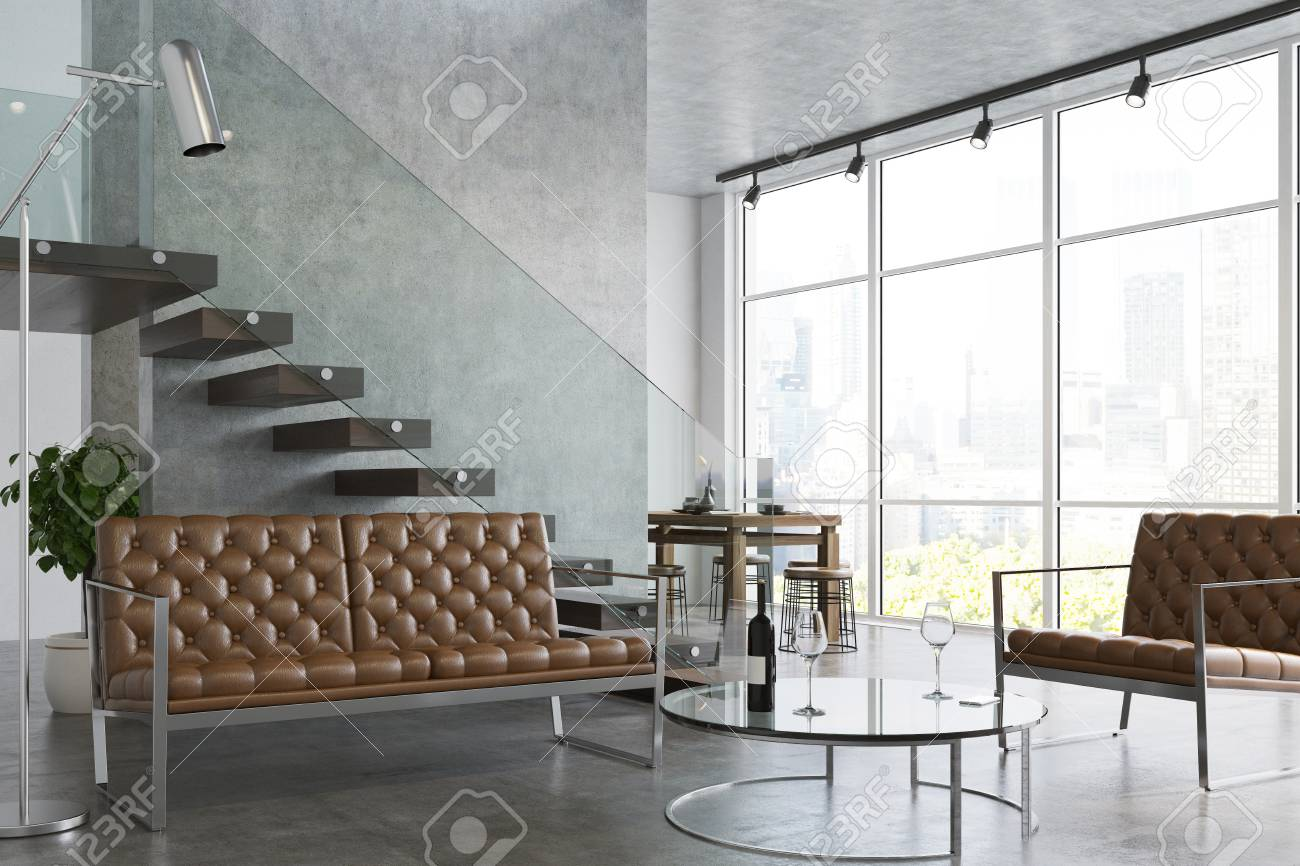 White Living Room Interior With A Concrete Floor, A Staircase ...