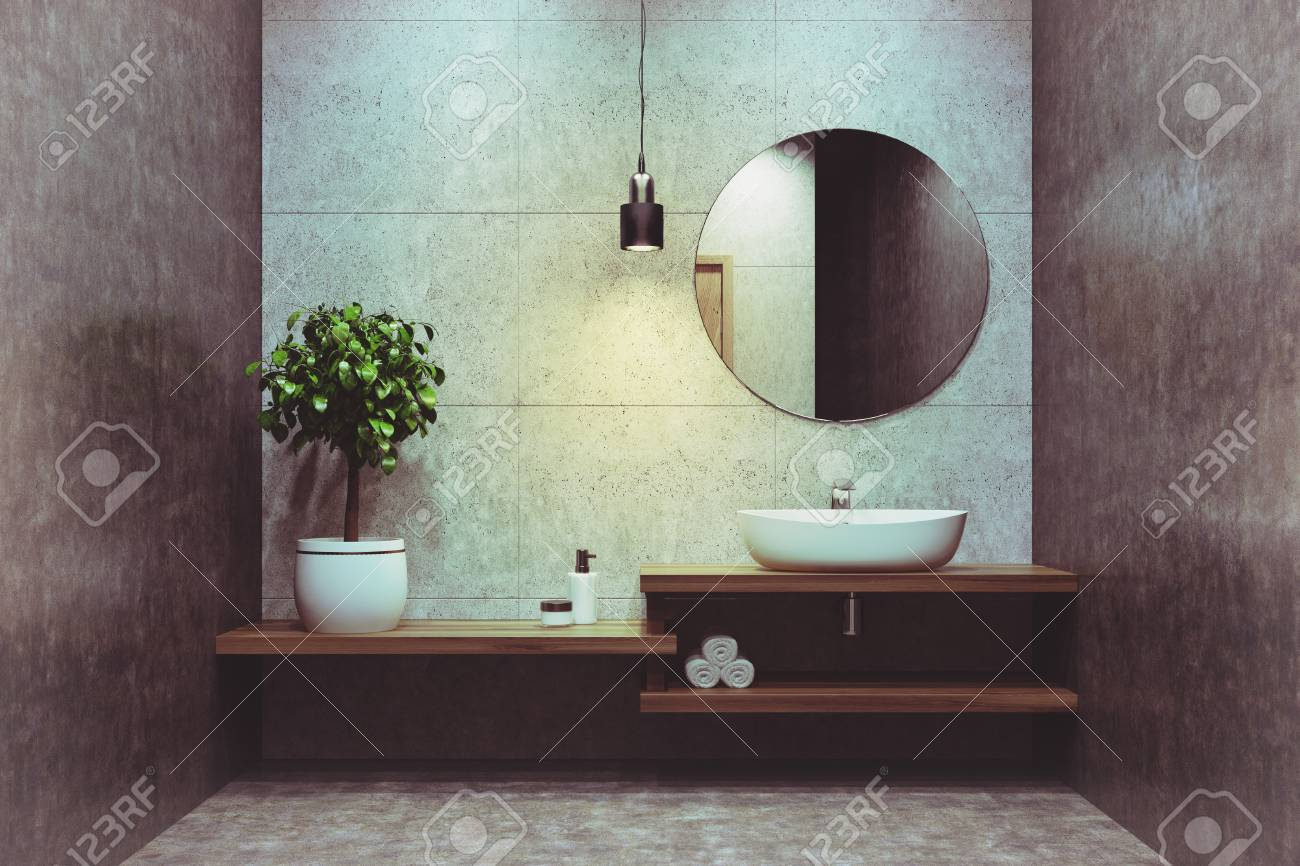 Espejos Redondos Lavabo.Interior De Bano De Concreto Con Un Estante De Madera Un Lavamanos De Pie Un Espejo Redondo Y Un Arbol En Maceta En La Esquina Representacion 3d