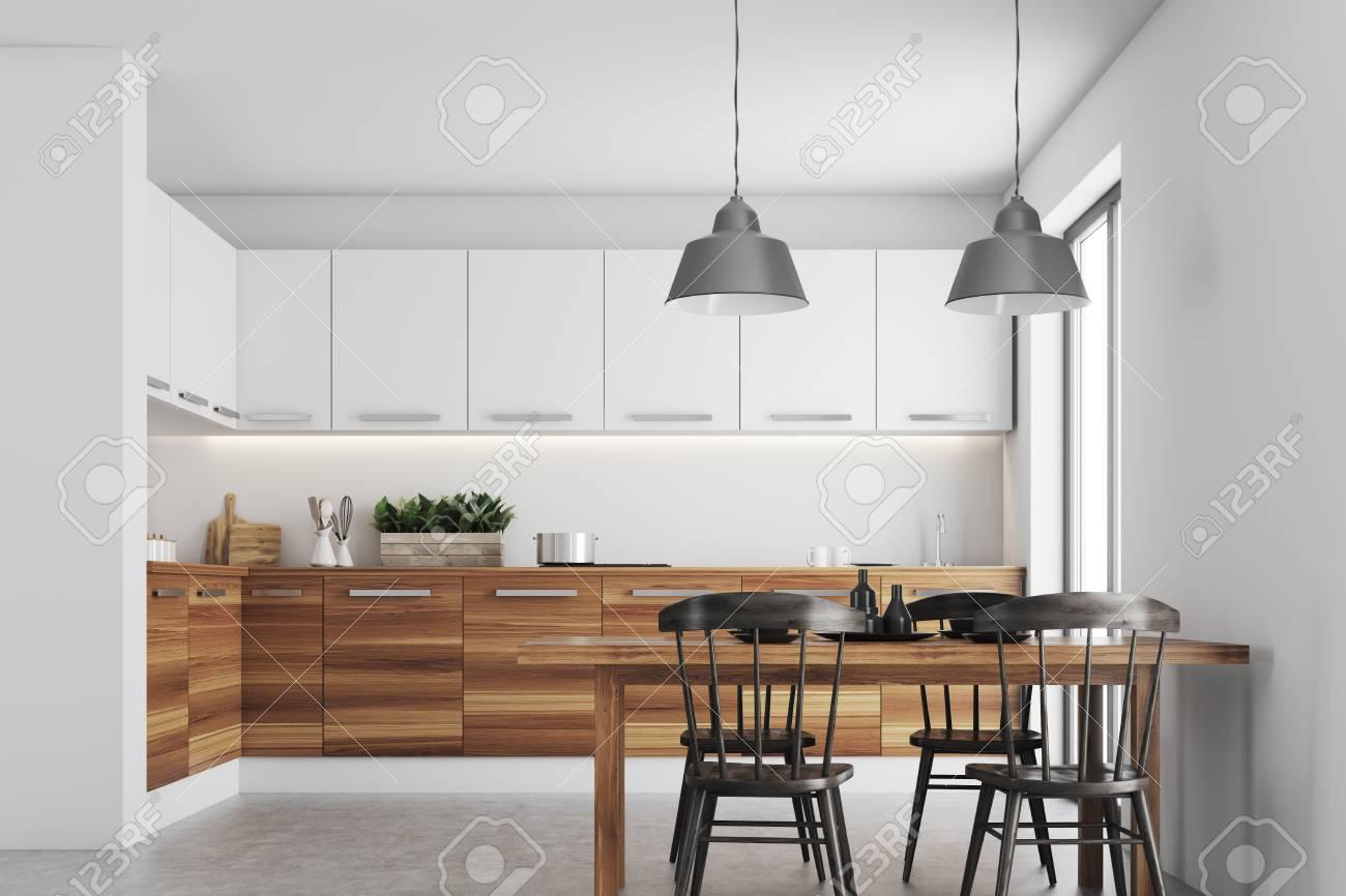 Kitchen Interior With White Walls, A Concrete Floor, Wooden ...