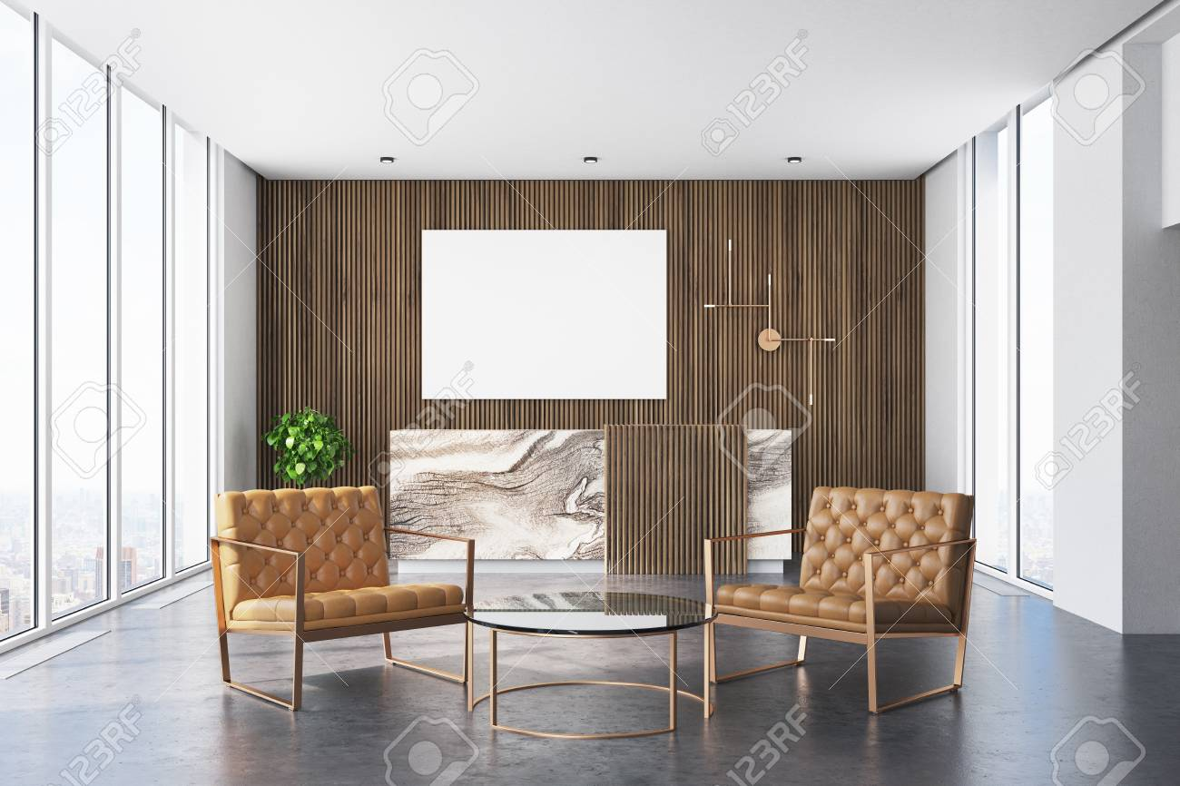 wooden office interior with a concrete floor and a marble and rh 123rf com