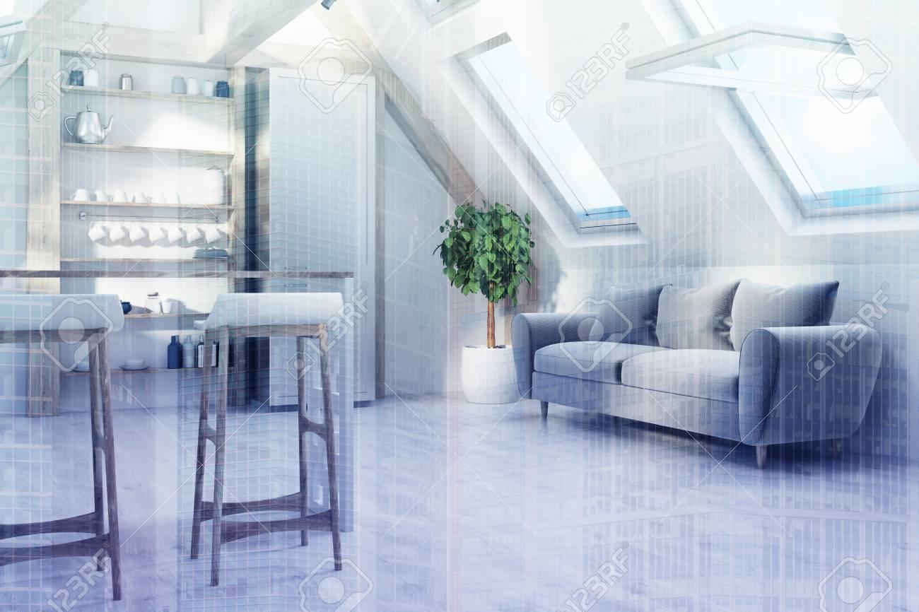 Interno della cucina attico con un bancone con sgabelli una