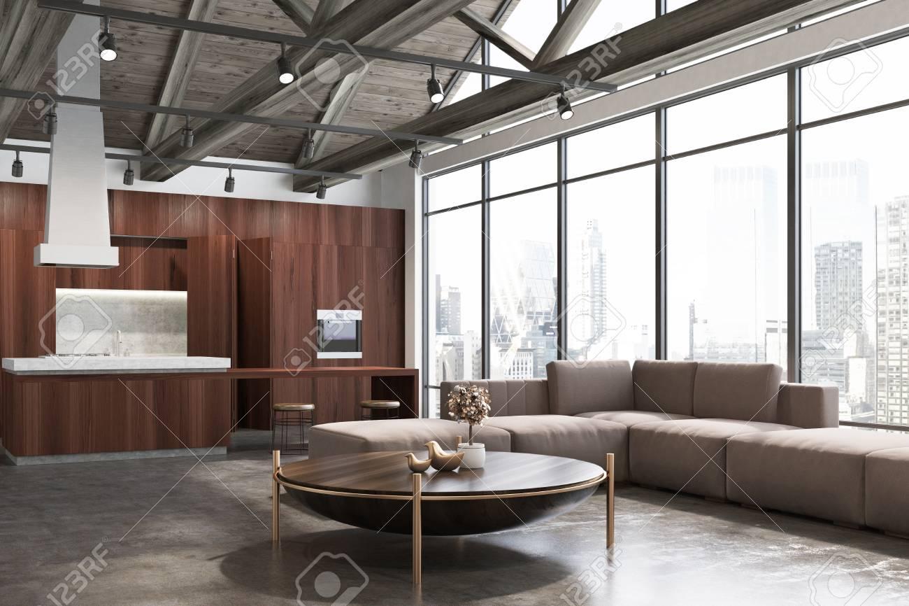 piso de concreto sala de estar Sala De Estar De Madera Y Cocina Con Un Piso De Concreto Ventanas Loft Una Mesa De Caf Y Un Cartel La Cocina Est En El Fondo Representacin 3D