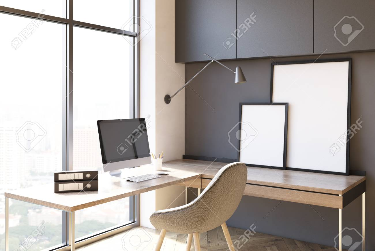 Loft Home Office Interior With Dark Gray Walls Two Desks A Stock Photo Picture And Royalty Free Image Image 90032850