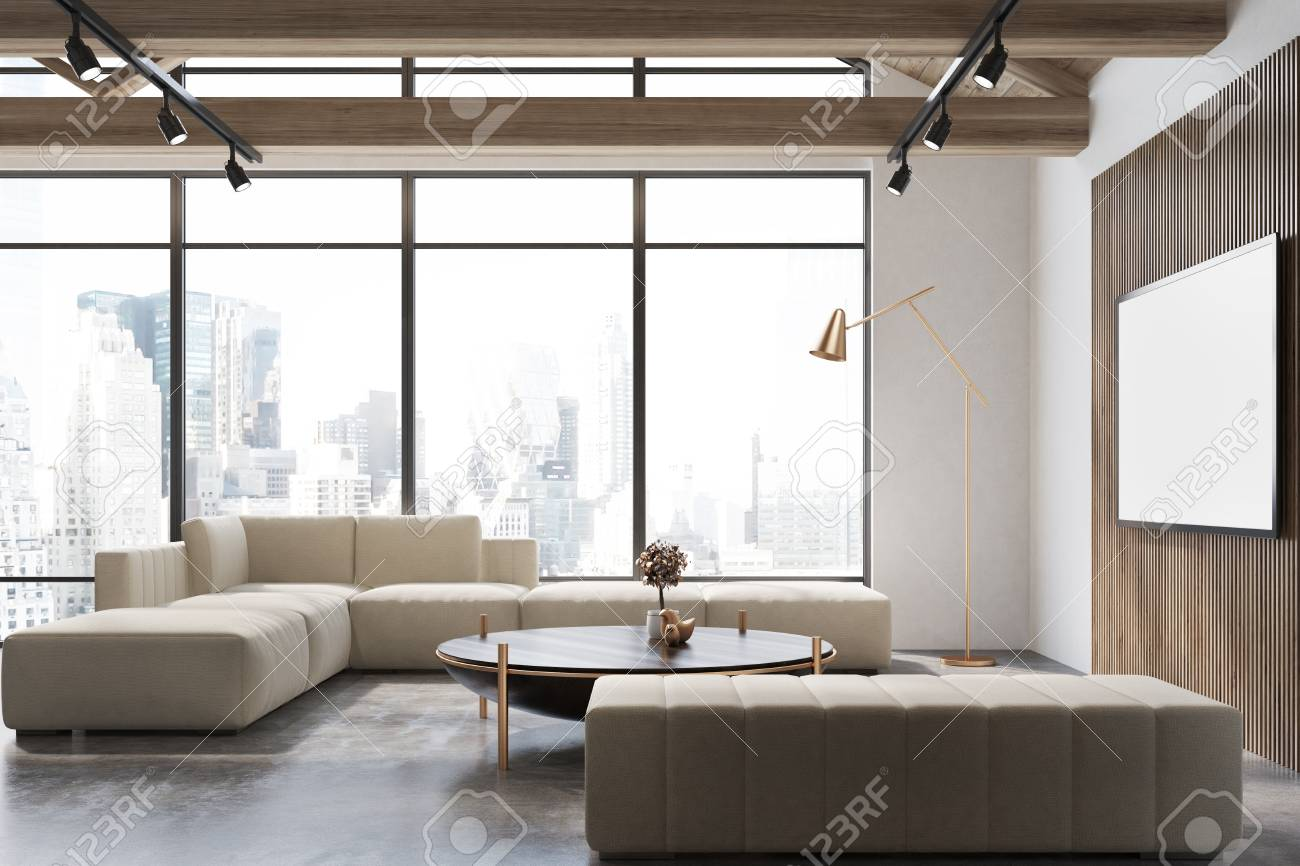 White and wooden living room interior with a concrete floor,..