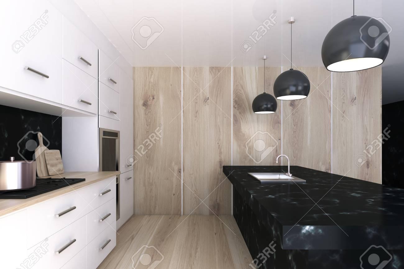 intrieur de cuisine blanche avec des fentres panoramiques un sol en bton une barre de marbre noir et une range de chaises qui se trouvent le long de