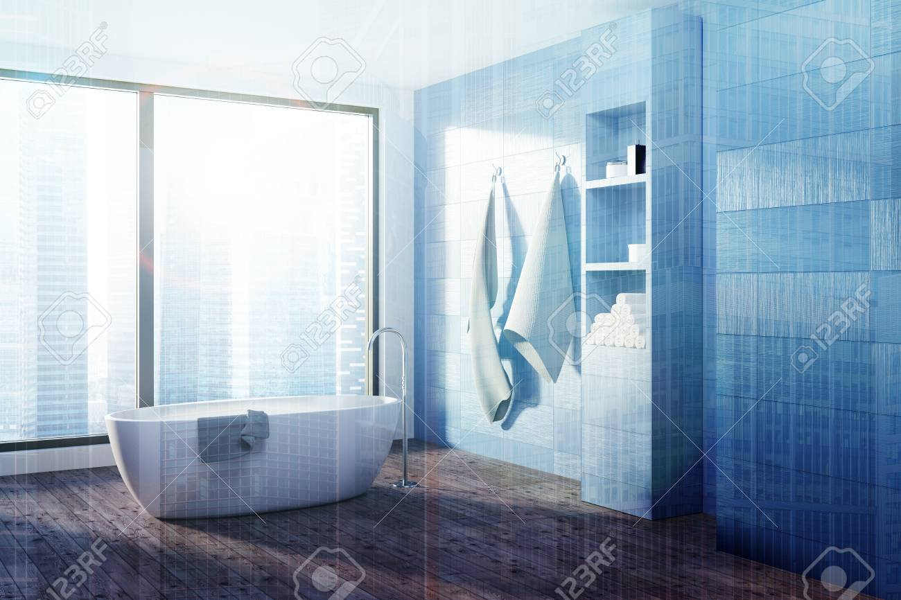 Blue Loft Bathroom Interior With A Wooden Floor, A White Tub.. Stock ...