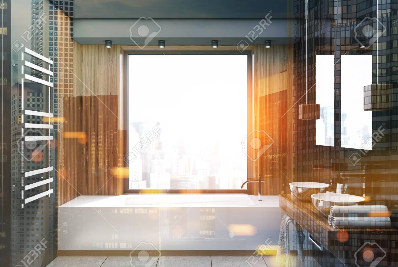 Fenetre Salle De Bain intérieur de salle de bain gris et bois avec un sol en béton, une fenêtre  panoramique, une baignoire blanche et deux lavabos. gros plan rendu 3d