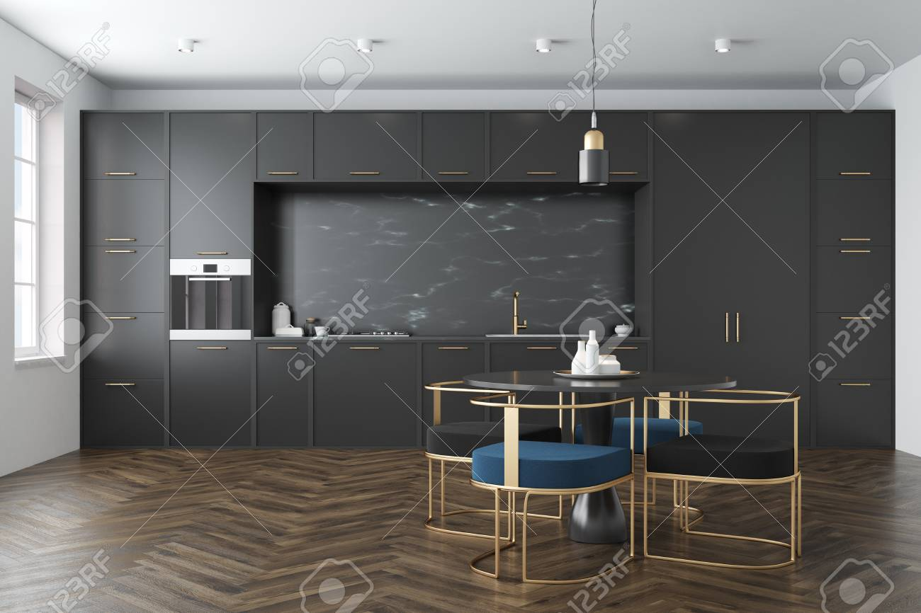 Black Marble Kitchen Interior With A Wooden Floor A Large Window Stock Photo Picture And Royalty Free Image Image 90449054