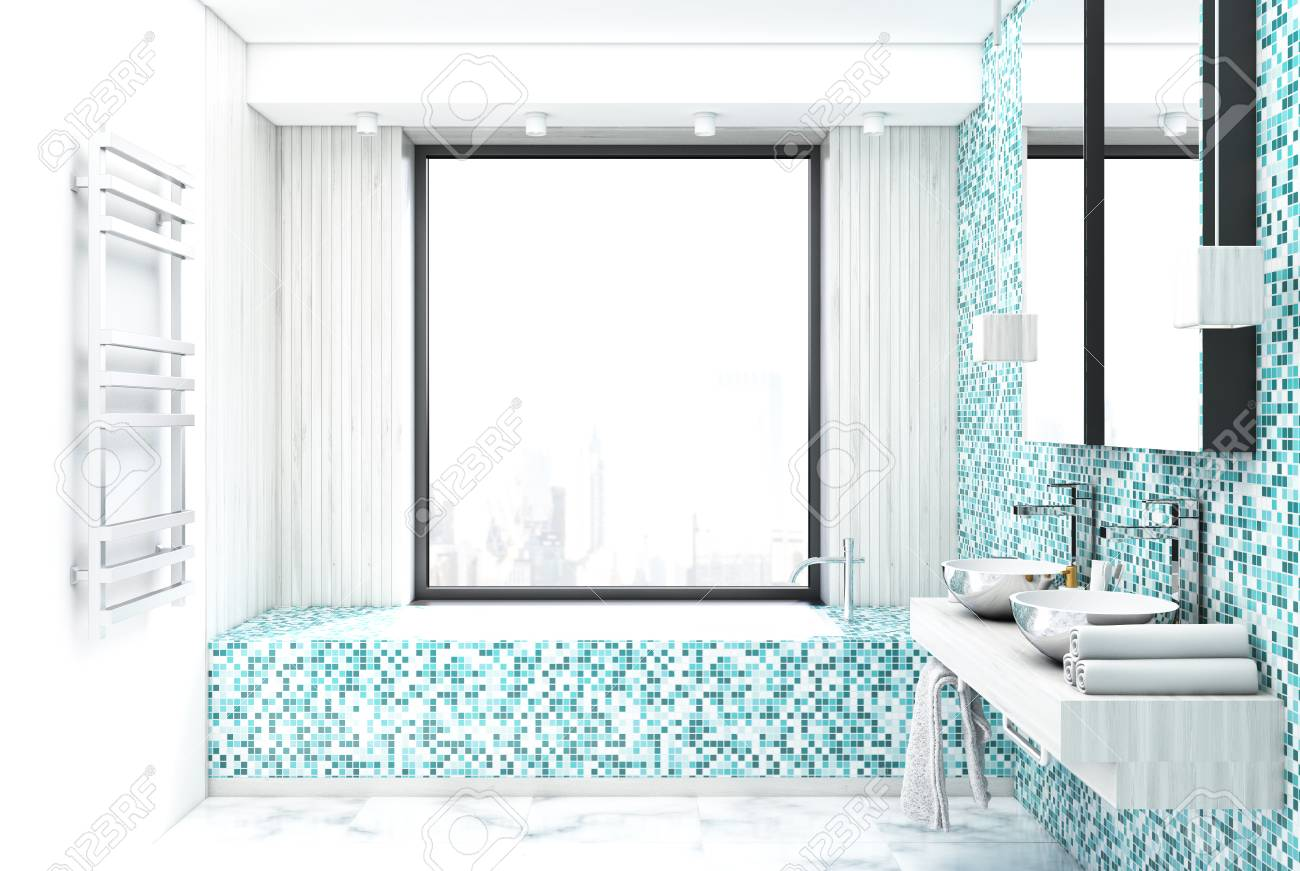 Blue Tile Bathroom Interior With A Marble Floor, A Panoramic.. Stock ...