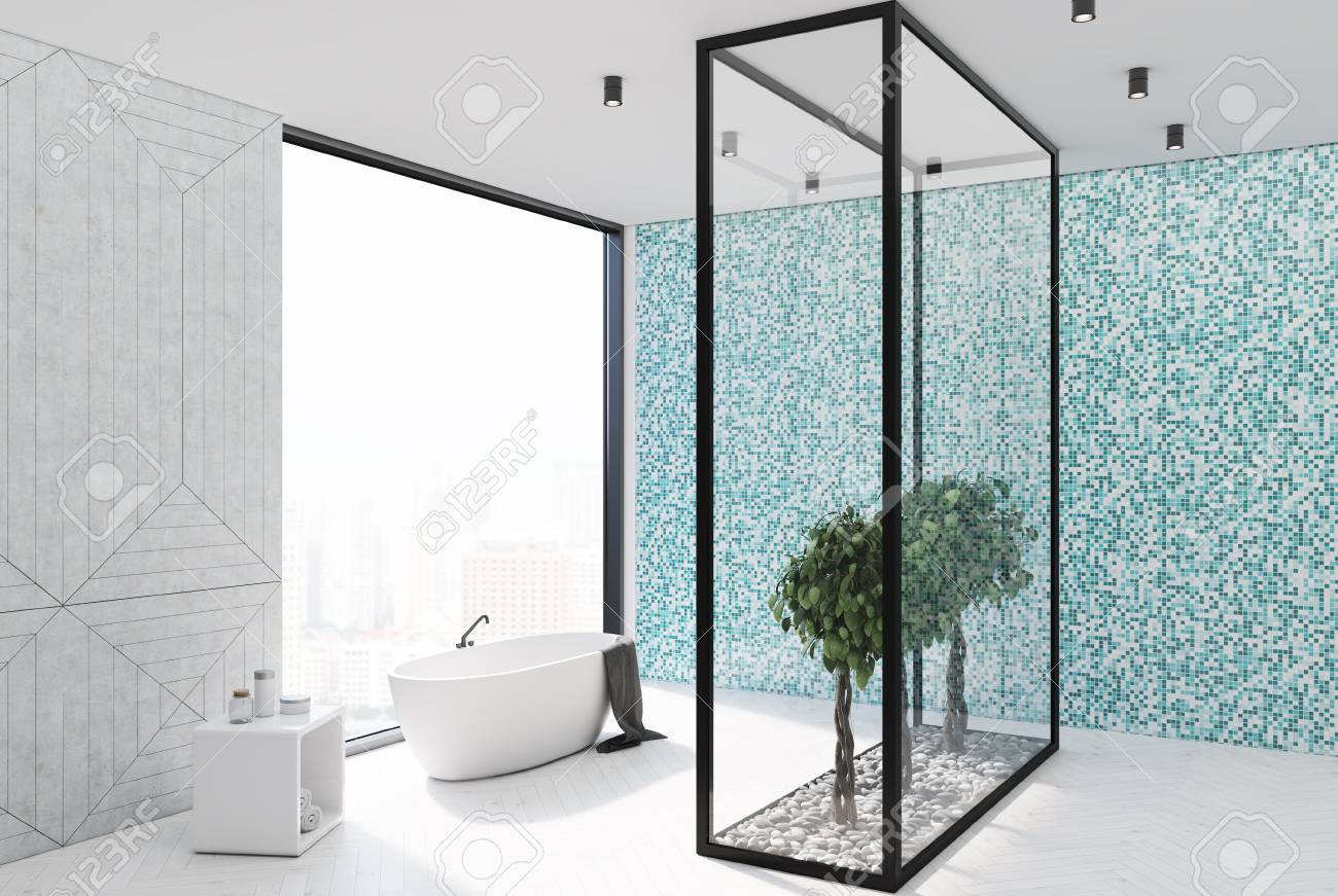 Blue Tile Bathroom Interior With A White Wooden Floor, A Panoramic ...