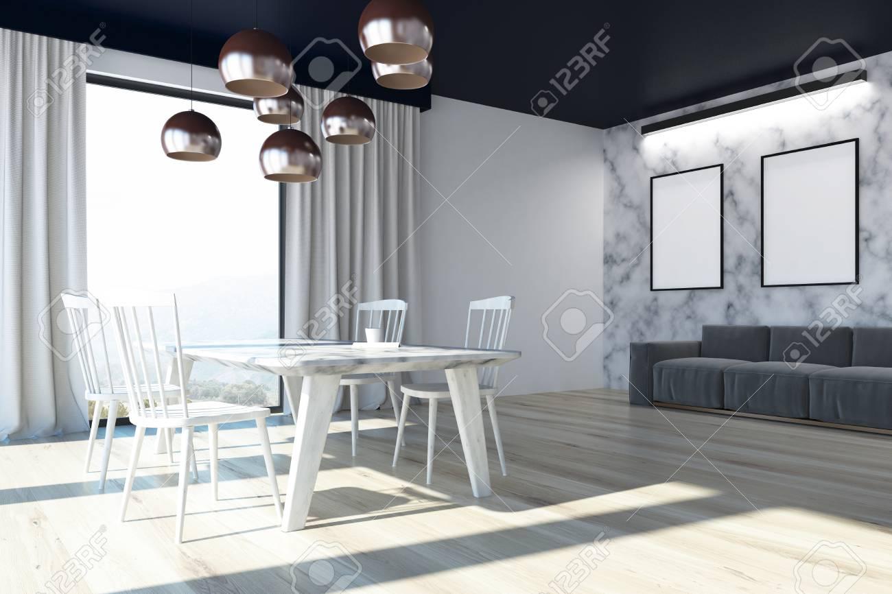 Intérieur De La Salle à Manger Avec Des Murs En Marbre Blanc, Un ...