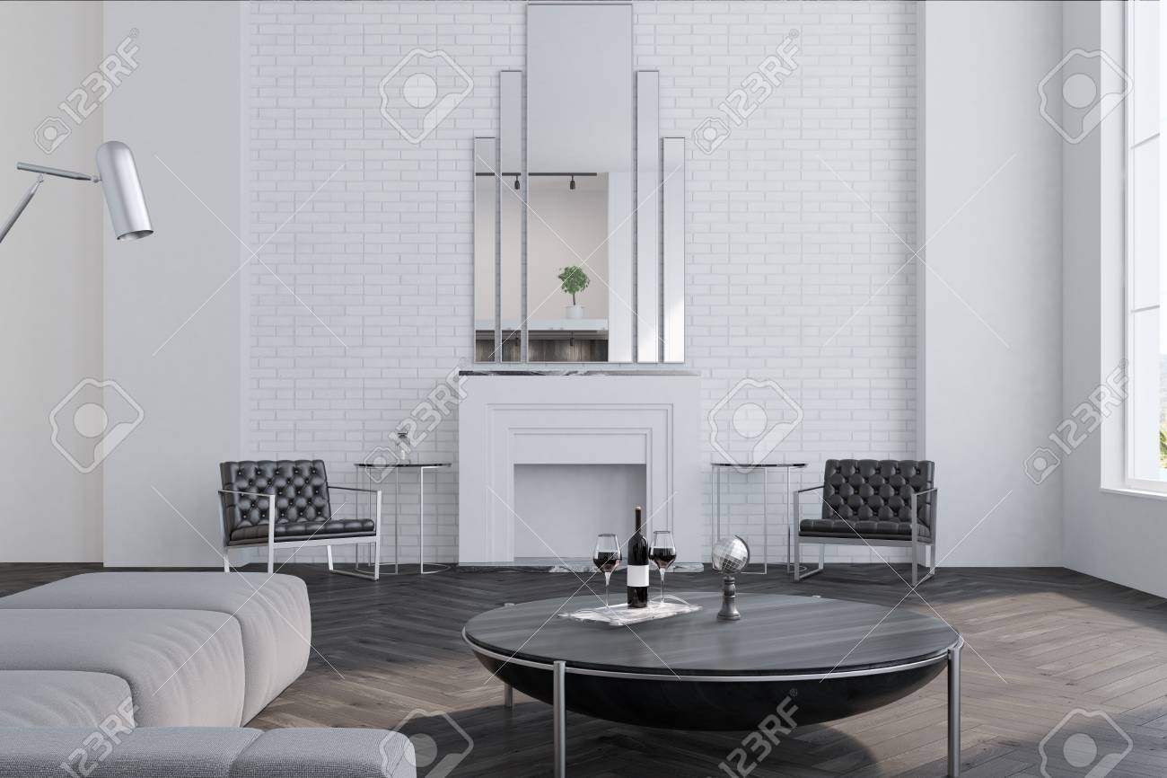 Remarkable White Brick Living Room Interior With A Wooden Floor Large Windows Creativecarmelina Interior Chair Design Creativecarmelinacom