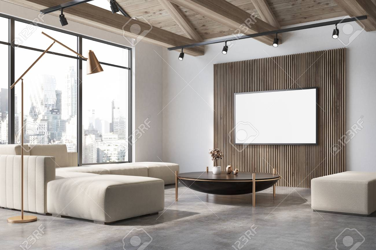 White And Wooden Living Room Corner With A Concrete Floor, A.. Stock ...