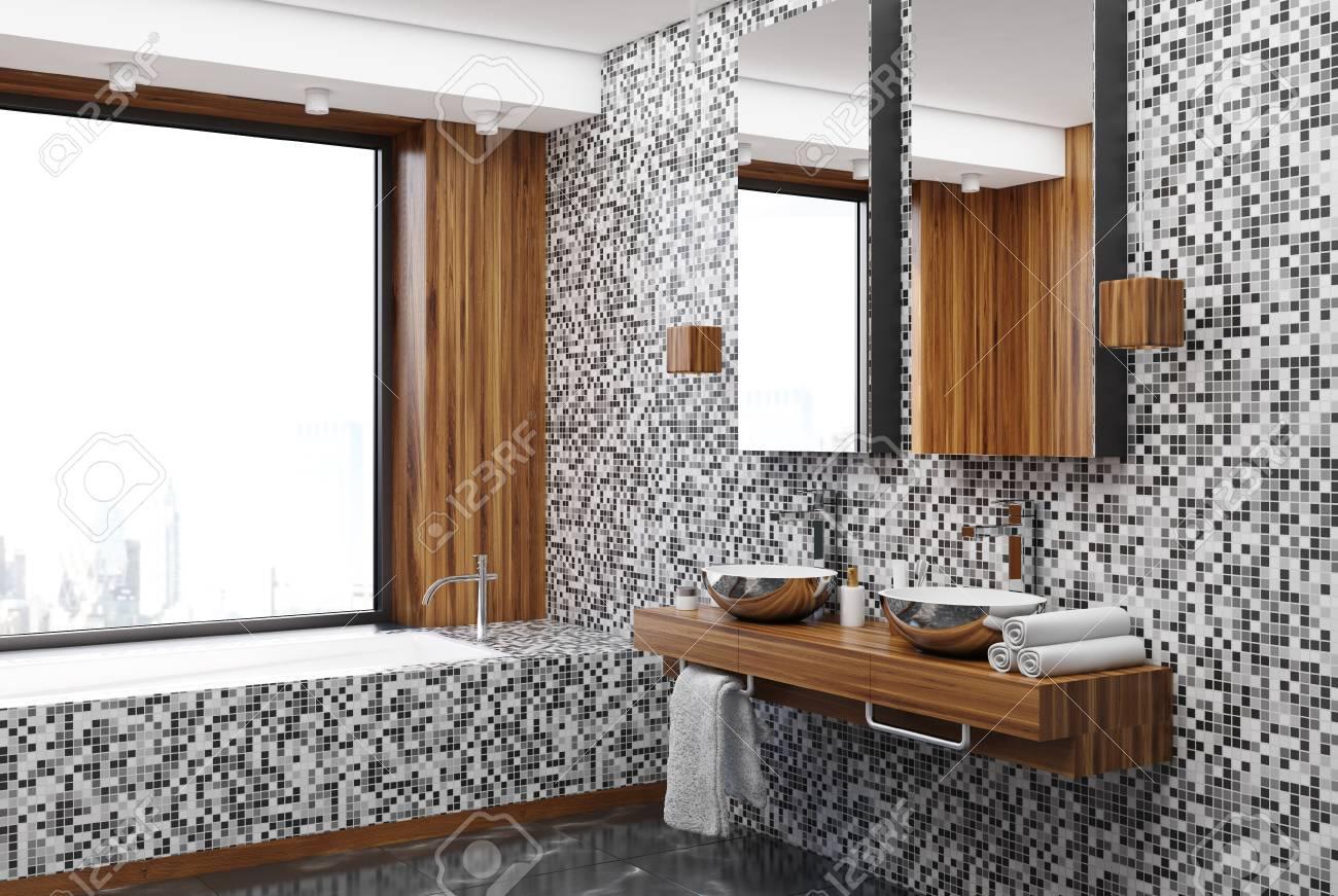 Carrelage gris et coin salle de bain en bois avec un sol en marbre, une  fenêtre panoramique, une baignoire carrelée et deux lavabos. Maquette 3D