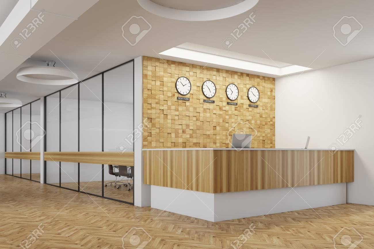 Plafoniere In Legno : Lobby di ricevimento bianca e in legno con pavimento due