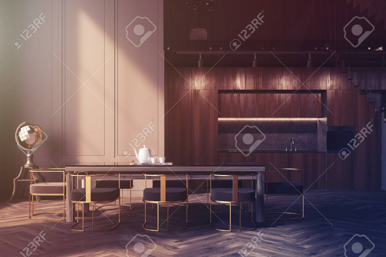 Gray Dining Room Interior With A Wooden Floor Long Talbe Chairs Around It