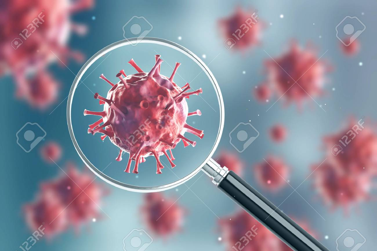 Close up of a red virus under a magnifying glass. There are blurred red viruses in the background - 90445589