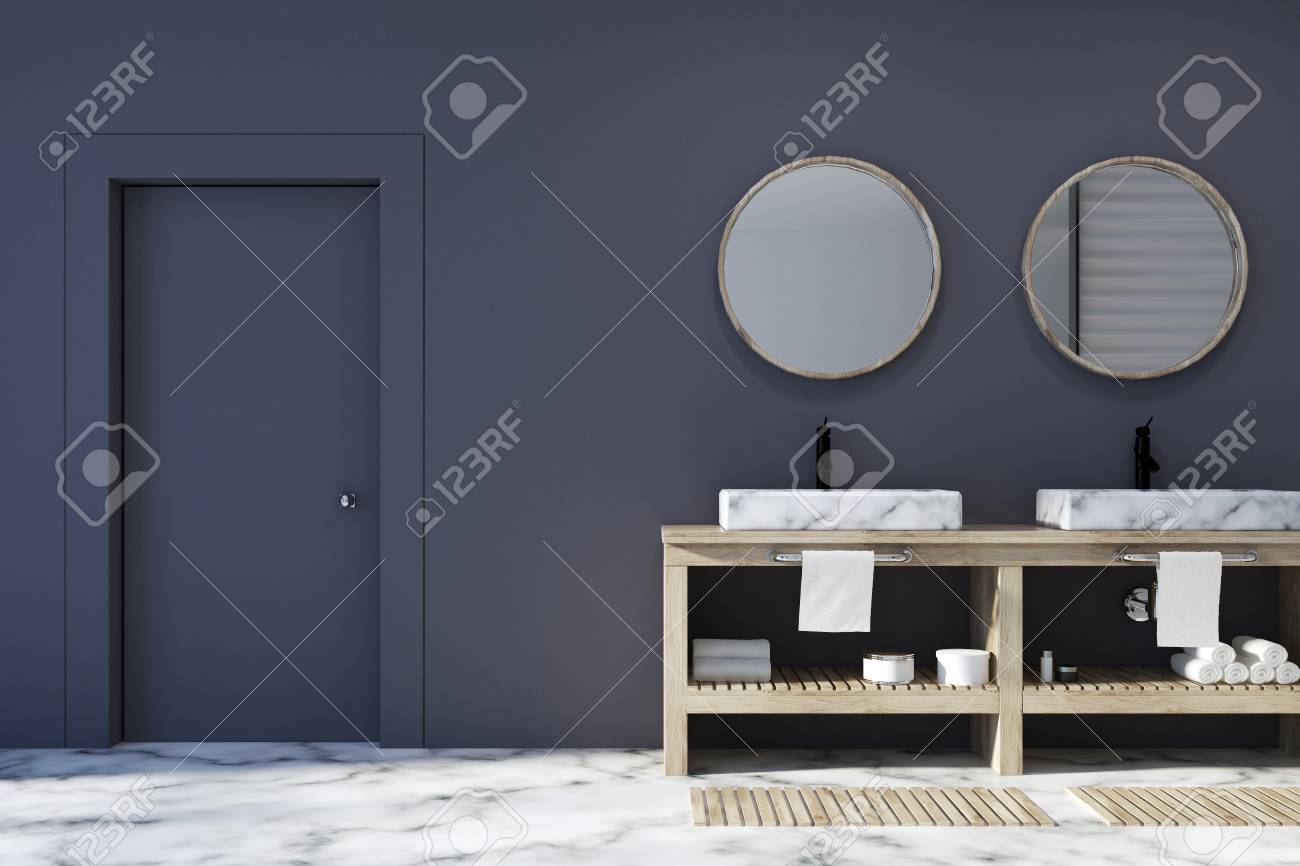 Black Bathroom Interior With A White Marble Floor A Double Sink Stock Photo Picture And Royalty Free Image Image 90870899