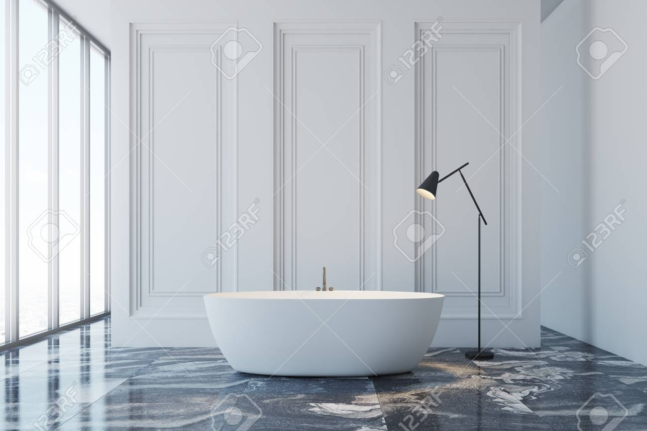 Salle De Bain Couloir Wc ~ Int Rieur De Salle De Bain Blanc Avec Un Sol En Marbre Noir Une