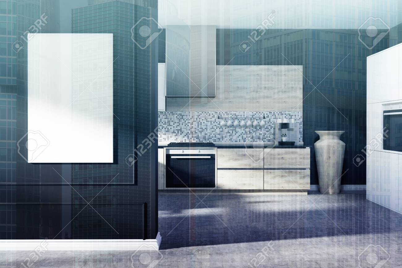 Black Kitchen Interior With A Mosaic Wall, A Concrete Floor, Light ...