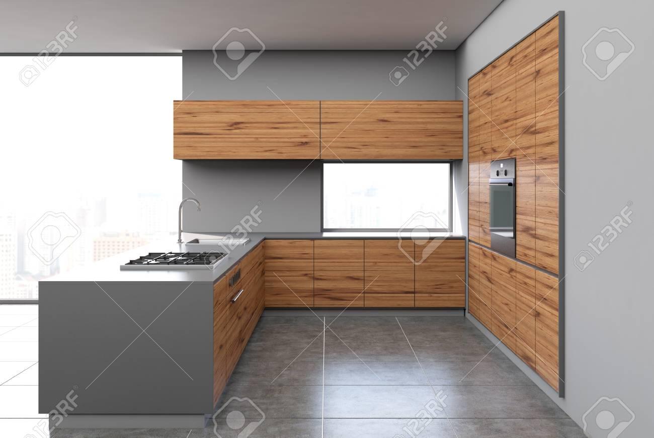 Grauer Und Dunkler Holzerner Kucheninnenraum Mit Einem Konkreten