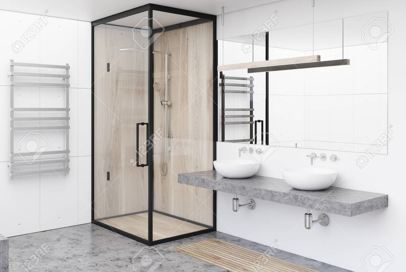 White Bathroom Corner With A Gray Floor, A Shower Stall, A Double ...