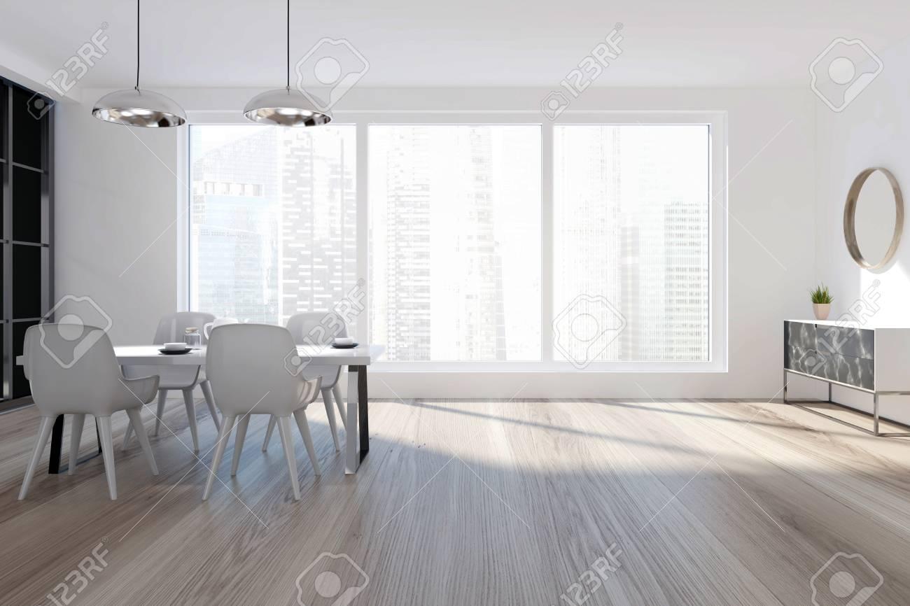 Interior Blanco Del Comedor Con Una Ventana Panorámica, Un Piso De ...